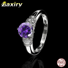 2019 NEW CZ Trendy 925 Sterling Silver Gemstone Ring Engagement Blue Sapphire Ring Natural Aquamarine Amethyst Ring For Jewelry