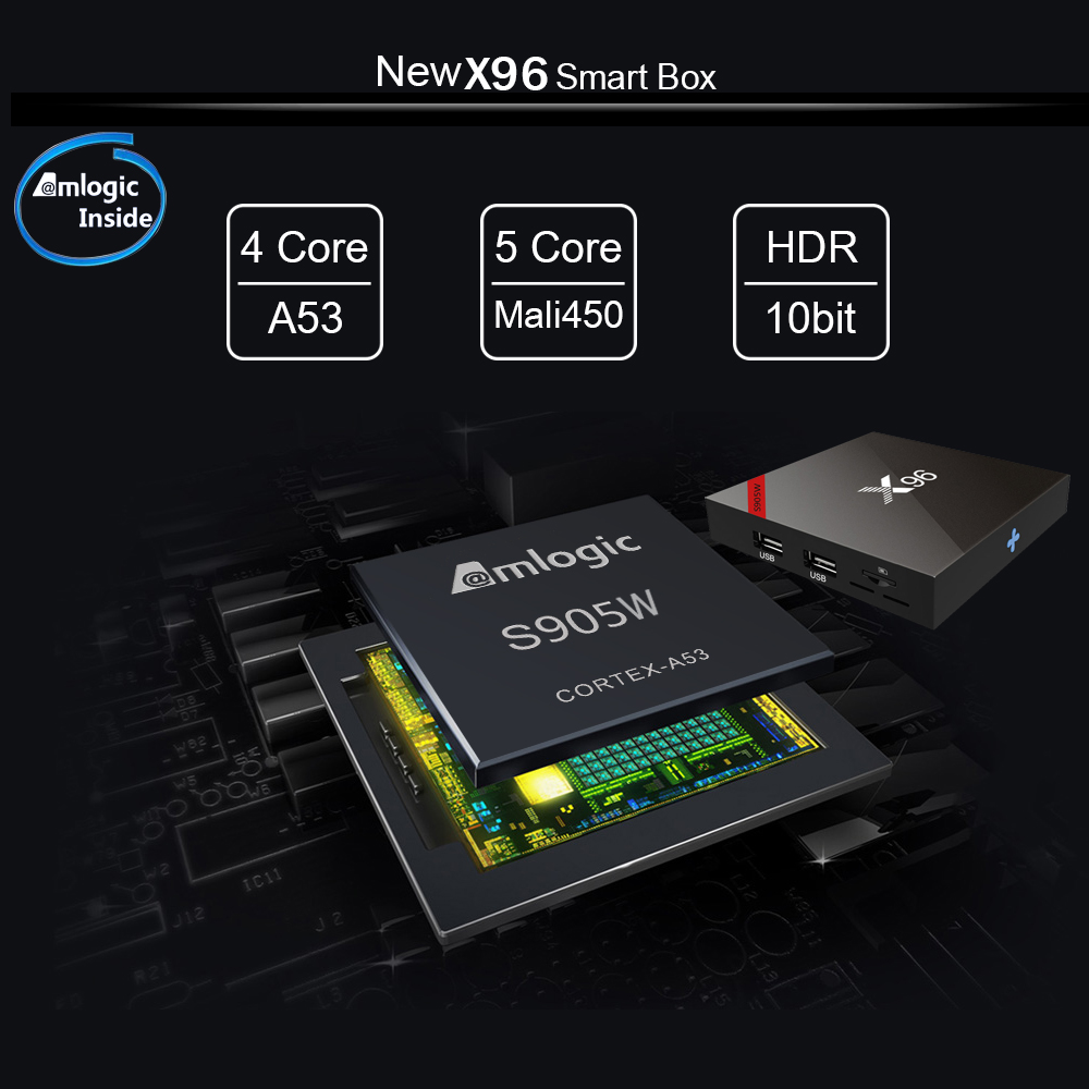 X96W Android 7.1 Smart TV Box 2GB16GB Amlogic S905W Quad Core 2,4 GHz WiFi Set Top Box 4K HD Online home Media Player PK H96 Max