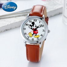Young Mickey Mouse Teen Leather Quartz Waterproof Wrist Watch Youth Men Student Fashion Classic watches DISNEY Brand Good Gift