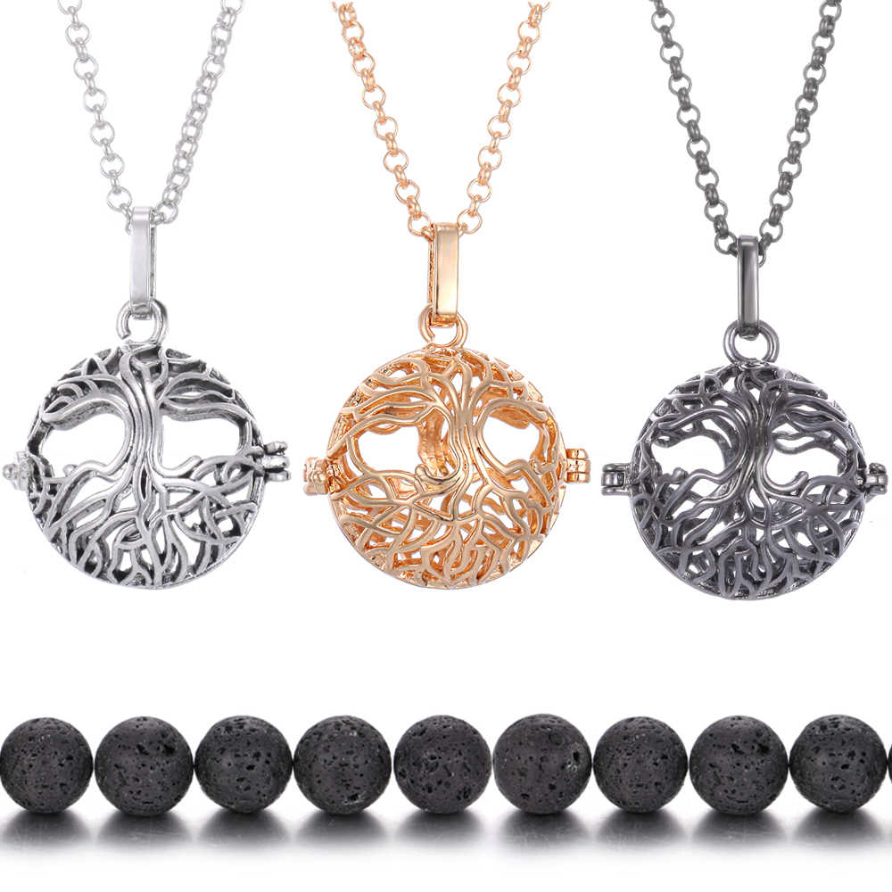 Tree of Life Perfume Pendant Lava Stone Essential Oil Diffuser Volcanic Stone Aromatherapy Necklace Angel Caller Locket Necklace