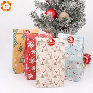 Image 2 - 1SET Mix Types Deer Snowflakes Candy Gift Bags With Stickers Merry Christmas Guests Packaging Boxes Christmas Party Gift Decor