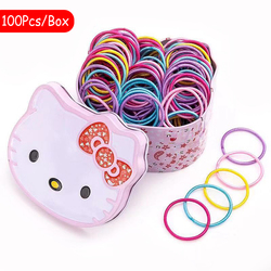 100 Pcs/Box Girls Colorful Small Disposable Rubber Bands Ponytail Hair Ring Elastic Hair Bands Child Fashion Hair Accessories