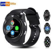 V8 relógio inteligente homem com câmera/slot para cartão sim resposta chamada dial função smartwatch android tela de toque completa relógio bluetooth