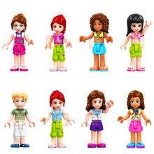 8 conjunto menina amigos princesa martina james mia olivia andrea tom stella bloco de construção brinquedos presente para crianças constuction figura