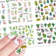 12 Pcs Nail Art Water Decals Flamingo Cactus Watermark Overdracht Sliders Sticker Zomer Papier Decoratie Manicure JIBN1261 1272