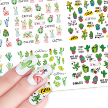 Décalcomanies dart pour les ongles, décalcomanies deau, Cactus flamand rose, motif autocollant, décoration en papier dété, manucure, 12 pièces, JIBN1261 1272