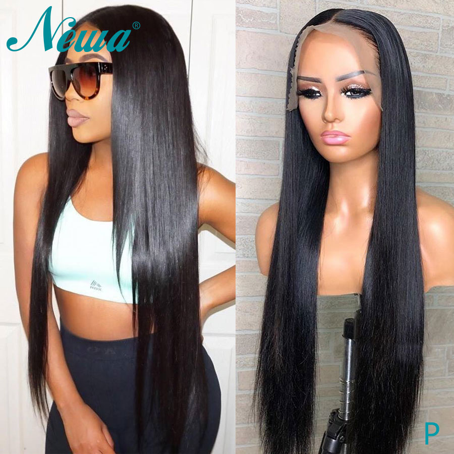 Newa Hair 26-32 Inches Lace Front Human Hair Wigs Pre Plucked 13x6 Straight Lace Front Wig Long Brazilian Remy Hair Wig 150/180%
