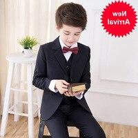 Formal Flower Boys School Suits for Weddings Boys Jacket Shirt Vest Pants Tie 5pcs Tuxedo Kids Prom Party Dress Clothing Set
