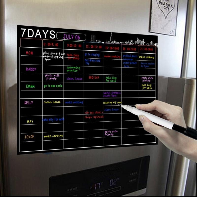 Magnetic Dry Erase Calendar Set 16X12 Inch Whiteboard Weekly Planner Organizer A3 White Board For Refrigerator Fridge Kitchen Ho