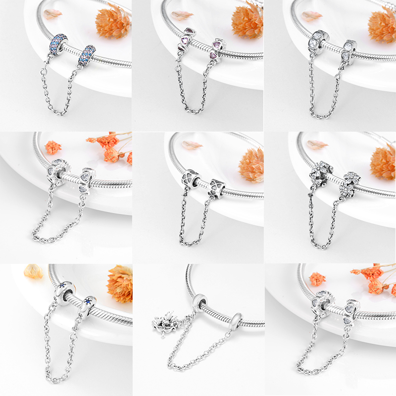 High Quality 925 Sterling Silver Bead Safety Chain Charm Diy Fit Original Pandora Charms Bracelet Fine Jewelry Making