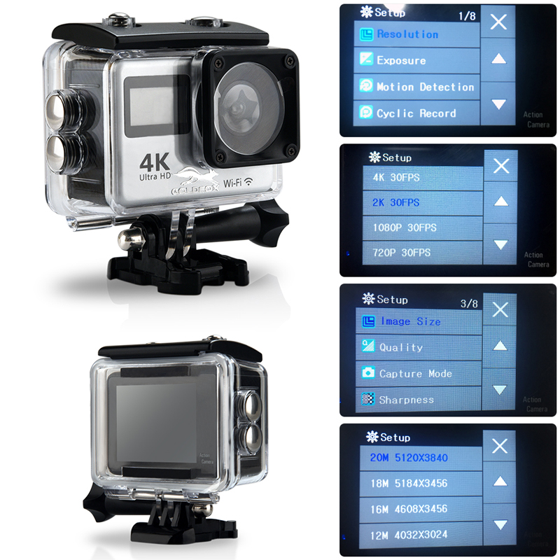 """4K WiFi Action Camera 2.0"""" Touch Screen 12MP 170D Sports Camera 30M Go Waterproof Pro Heltmet Video Recording Camera 6"""