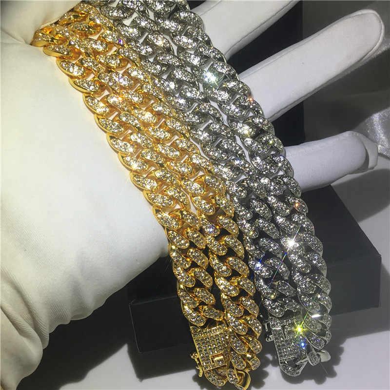 Ręcznie robione męskie Iced Out kryształ naszyjnik cz 12.5mm ciężki Miami kubański Link łańcuch Hiphop złoty kolor Fashion Party biżuteria dla mężczyźni