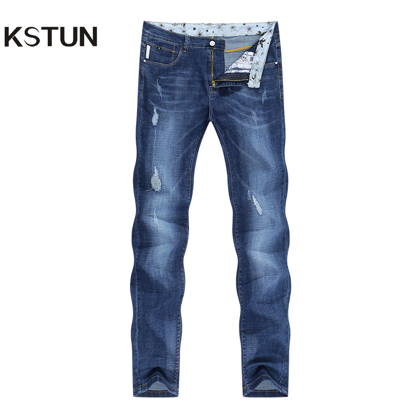 KSTUN Jeans Men Slim Fit Blue Summer Thin Ripped Jeans Men Streetwear Hip Hop Denim Pants Men's Clothes Wholesale Dropshipping
