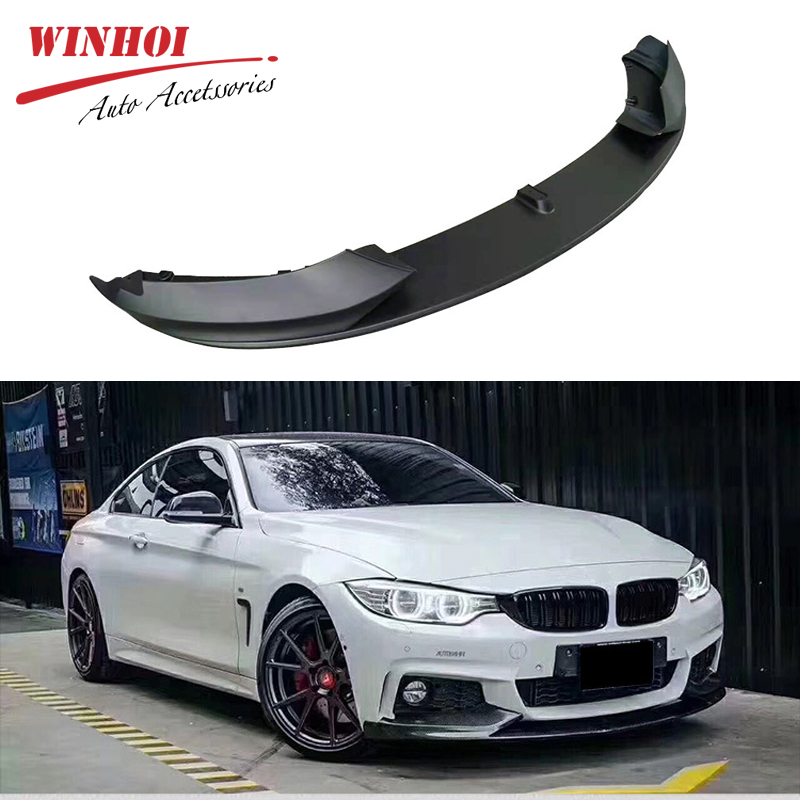 Car Front Bumper Lip for BMW 4 Series F32 MP Style PP Car front Shovel Bright Black Auto Car Front Lip Spoiler Exterior parts