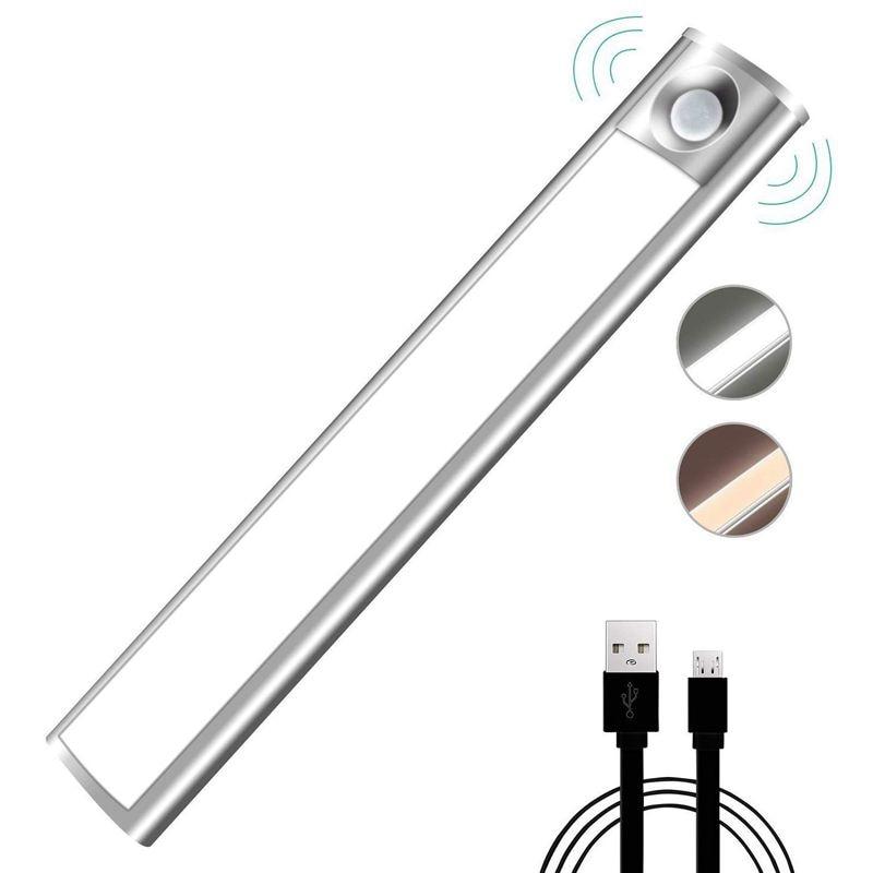 Датчик движения, светодиодный ночник для шкафа USB Автоматическая подзарядка 33 светодиодный с магнитной клейкой лентой для шкафа