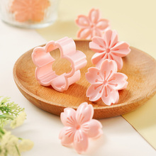 5pcs Sakura Cookie Mold Stamp Biscuit Mold Pink Cherry Blossom Mold Flower Charm DIY Reusable Cookie Cutter Baking Accessories
