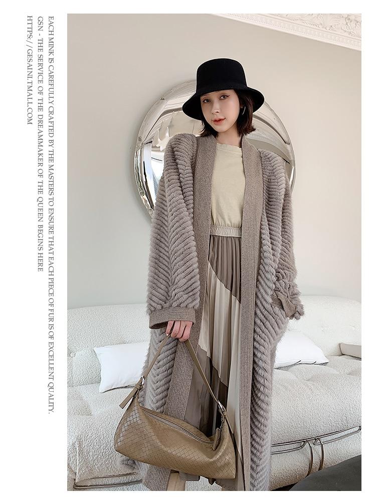 Hf03489f2f9ed4b6b846f4d4628356a945 HDHOHR 2021 New High Quality Natural Mink Fur Coat Women With Belt Knitted Real MinkFur Jacket Fashion Warm Long For Female