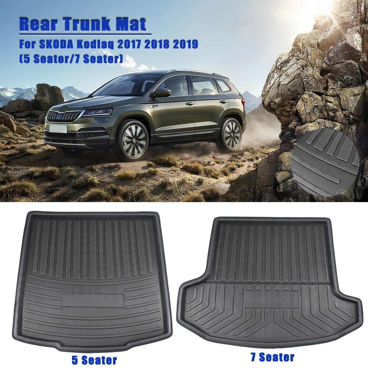 Cargo Liner Boot Tray Rear Trunk Cover Matt Mat Floor Carpet Kick Pad For SKODA Kodiaq 5 7 Seat Seater 2017 2018 2019