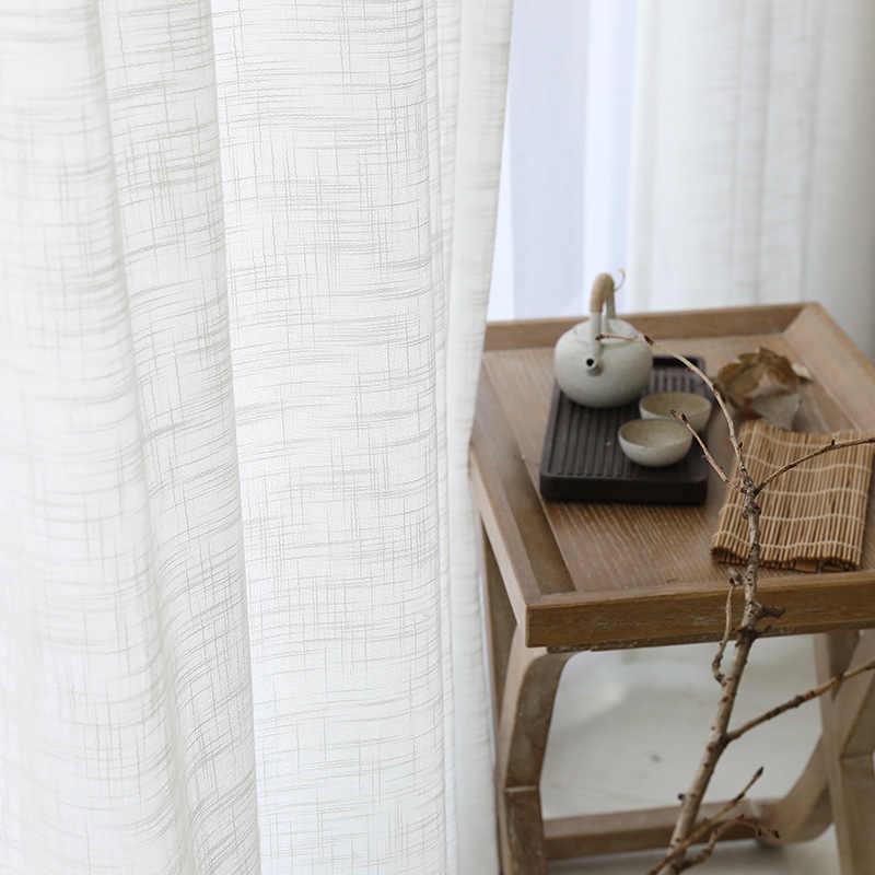 Moderno tule cortinas para sala de estar soild linho sheer cortinas para o quarto voile tratamentos triagem janela