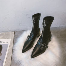 Brand Women's Shoes Boots-women Sexy Thigh High Heels High Sexy Zipper Booties Ladies Lace Up Winter Footwear Fashion 2019(China)