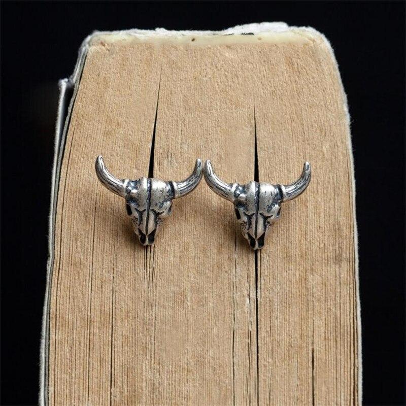 Модные креативные сатаны череп рогатый серьги гвоздики унисекс