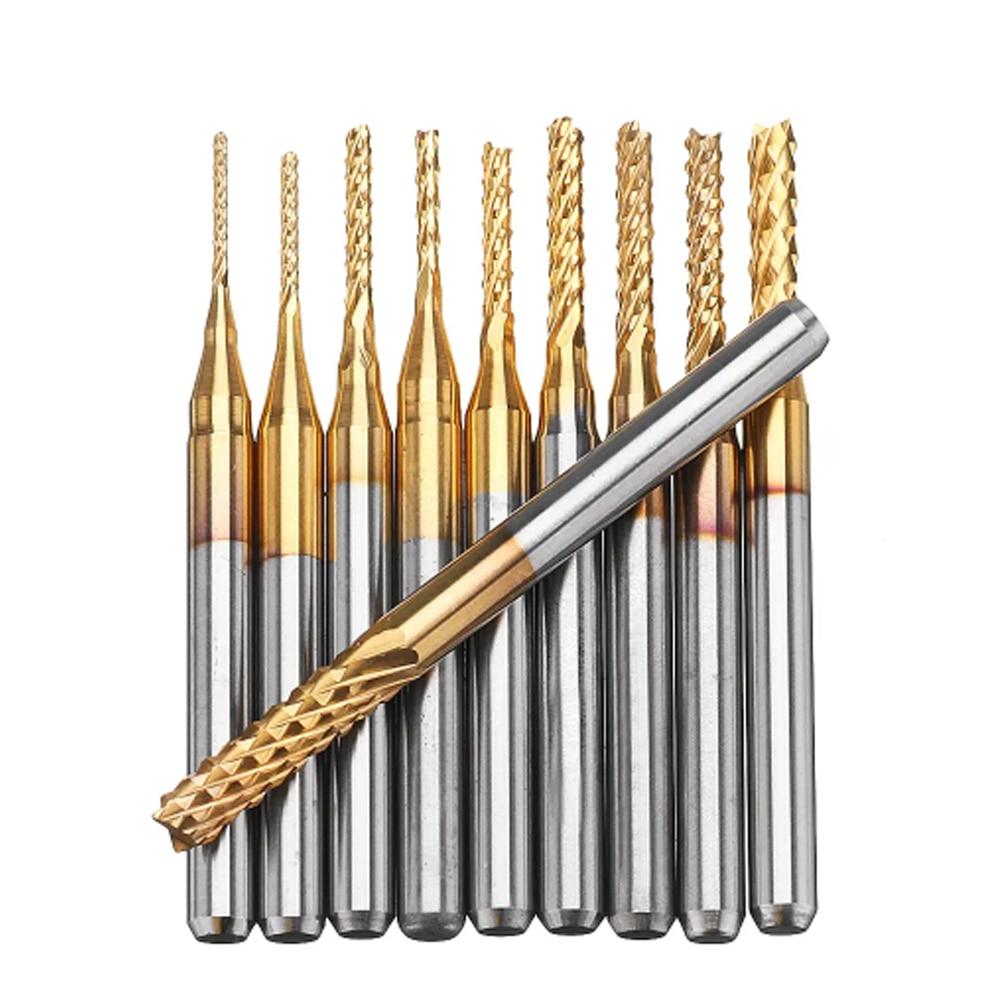 10pcs Titanium Coated Carbide 1mm 1.5mm 2mm 2.5mm 3mm End Mill Engraving Bit Set