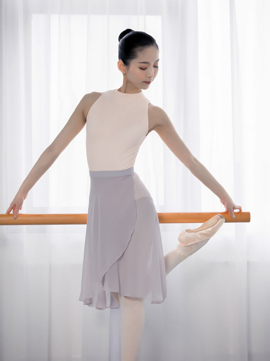 Professional Adults Middle Long Chiffon Ballet Skirts Women Lyrical Soft Lace Up Ballet Dress Ballerina Dance Costumes