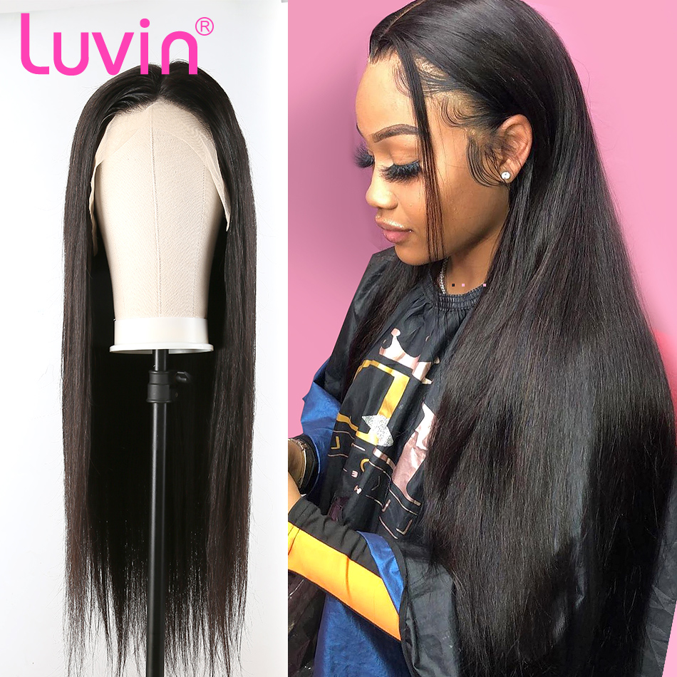 <font><b>LUVIN</b></font> 13x6 HD Transparent Lace Front Human <font><b>Hair</b></font> Wigs Brazilian Straight Glueless Lace Frontal Wig Pre Plucked Baby <font><b>Hair</b></font> image