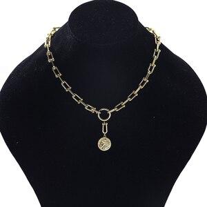 Vintage Gold Porträt Münze Anhänger Halskette Für Frauen Chunky Dick Link Geometrische Kette Choker Halsketten Mode Schmuck