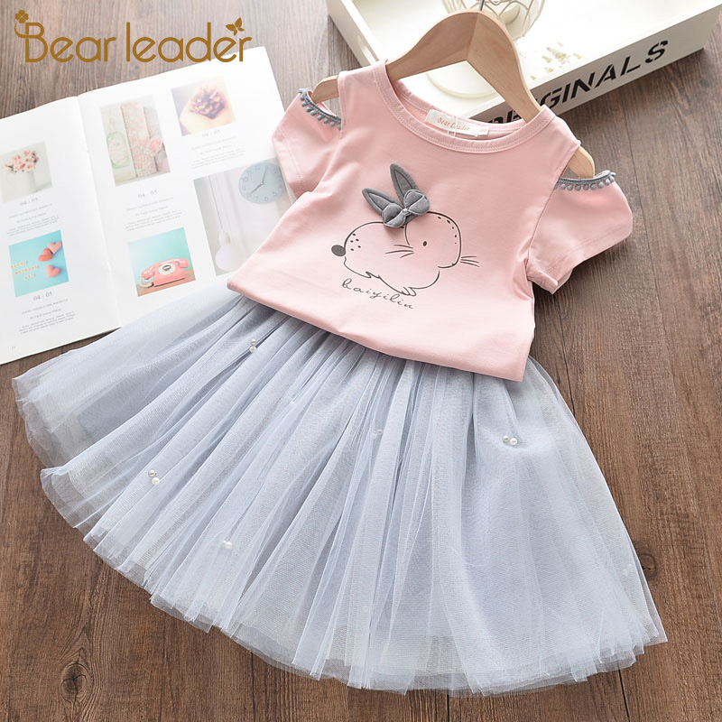 Bear Leader <font><b>Girls</b></font> Party <font><b>Dress</b></font> New Summer Fashion <font><b>Girl</b></font> Kids <font><b>Dress</b></font> Cartoon Unicorn Embroidery <font><b>T</b></font>-<font><b>Shirt</b></font> and <font><b>Dress</b></font> Children Clothing image