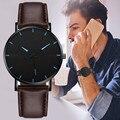 Роскошные Кварцевые часы с Циферблатом из нержавеющей стали, повседневные наручные часы, студенческие наручные часы с кожаным ремешком, пр...