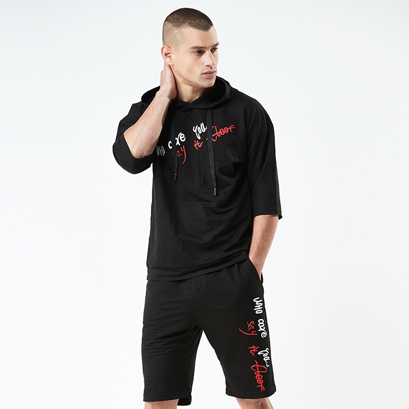 2018 Summer New Style Men Europe And America Casual Knitting Suit Printed Letter Sports Men's Hooded Short Sleeve Set