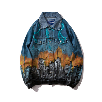 Veste en jean pour hommes Streetwear Cité Dragon