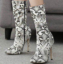 цена women mid-calf boots thin high heels pumps stiletto shoes woman chaussure pointed toe zapatos mujer sapato sexy booties WXZ090 онлайн в 2017 году