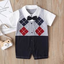 Newborn Infant Baby Boy Clothes Short Sleeve Gentleman Suit Bow Tie Plaid Romper Jumpsuit Clothes Outfits Boy Clothes 2 Years Y2(China)