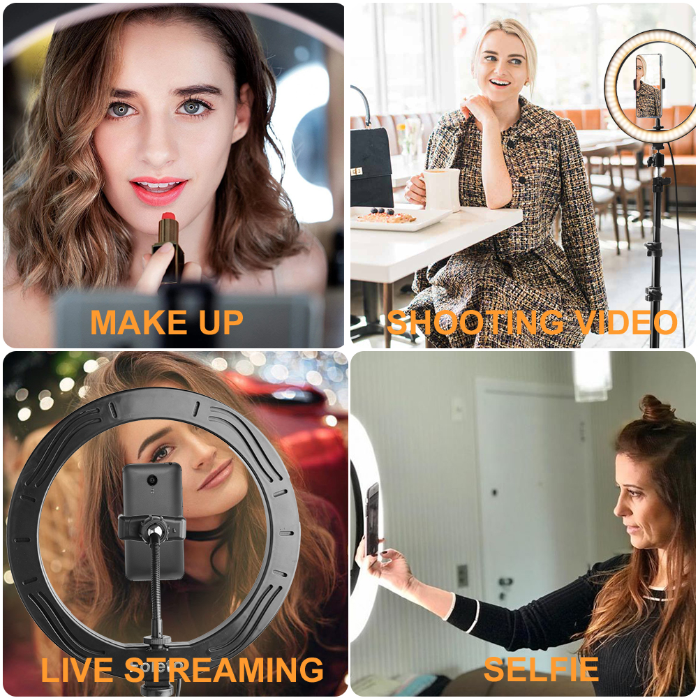 Rovtop 10 Inch Selfie Ring Light with Ring Stand for iPhone Tripod and Phone Holder for Video Photography 5