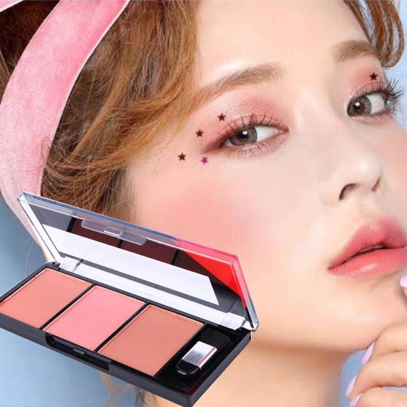 Палитра румян для лица легко носить макияж натуральная пудра Румяна для женщин макияж натуральные Румяна Палитра прочные цвета румяна с кистью