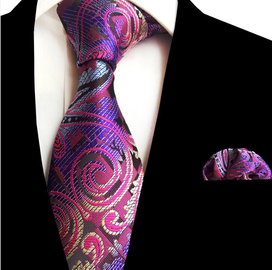 Ricnais 8cm Silk Floral Pocket Square Tie Set Green Bule Handkerchief Necktie For Men Business Wedding Neckwear Accessories Ties