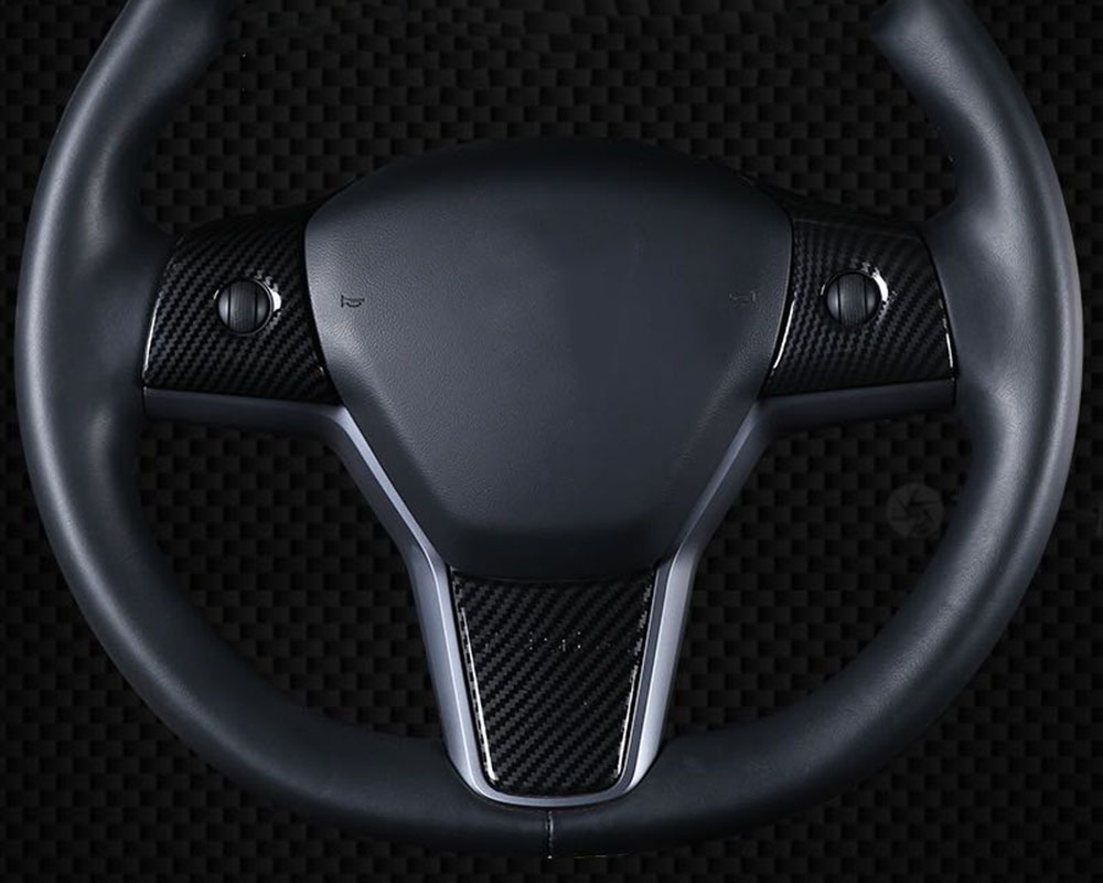 For Tesla Model 3 2017-2020 ABS steering wheel accessories decorative frame patch Car steering wheel decorative patch