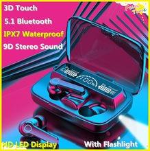 IPX7 наушники Fones de Ouvido sem fio Bluetooth fone de Ouvido À Prova D' Água de Grande Capacidade 5.1 3D Toque Inteligente Compatível Com Fones de Ouvido