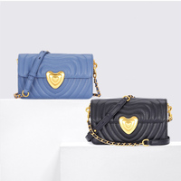 Luxury Designer Genuine Leather Women Handbags Women Heart Striped Shoulder Bags Woman Chain Messenger Bag Ladies Small Flap New