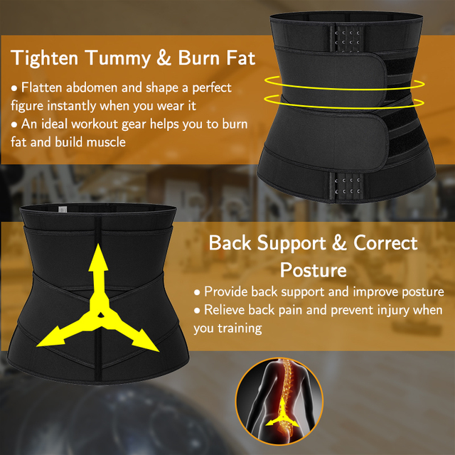 Neoprene Sauna Sweat Waist Trainer Corset with Steel Bones Women Weight Loss Trimmer Belt Slimming Body Shaper Fat Burning Fajas 2