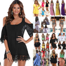 Casual Uk Voorraad Vrouwen Baden Hollow Out Patchwork Wrap Pareo Cover Up Beach Wit Zwart Jurk(China)