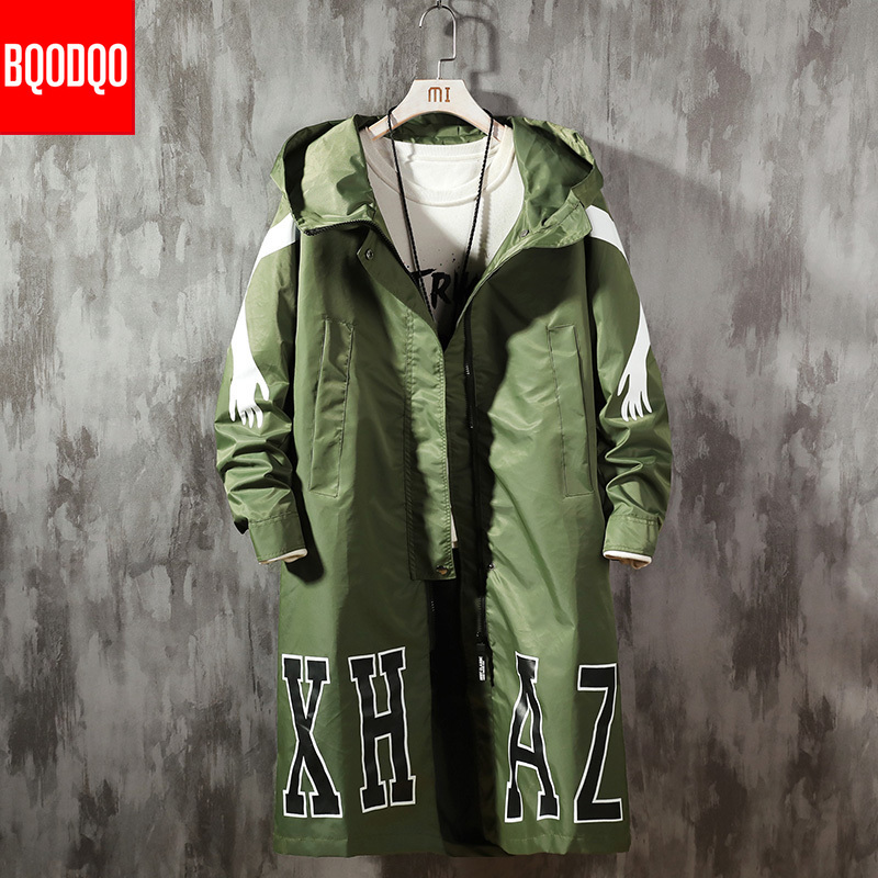 5XL Autumn Hooded Windbreaker Jackets Men Fashion Harujuku Casual Black Mens Jacket Hiphop Streetwear Long Trench Coat PLUS SIZE