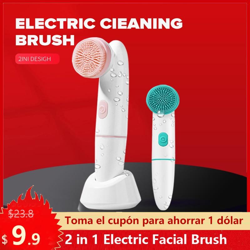 2 в 1 электрическая щетка для лица Sonic зубная щётка Vabrating Массажная щетка для чистки лица глубокой очистки удаляет угри акне уход за кожей Инс...