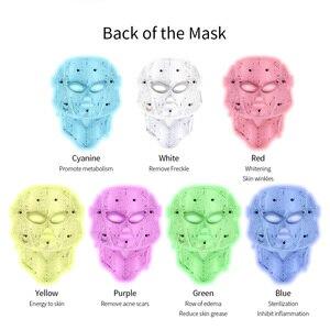 Image 4 - 7 색 Led 광자 전기 LED 얼굴 마스크 목 피부 젊 어 짐 안티 링클 여드름 광자 치료 스킨 케어 뷰티 마스크