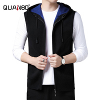 QUANBO 2020 New Men's Wool Blend Relax Sweater Vest Winter Thick Warm Fashion Hooded Casual Sleeveless Sweatercoat