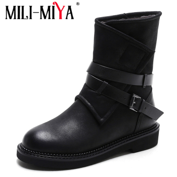 MILI-MIYA New Fashion Genuine Leather Women Boots Autumn Winter Casual Flat Booties Soft Cowhide Women Ankle Boots