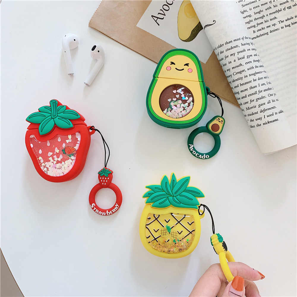 Quicksand Design Earphone Cases For Air Pods Headphones Cover For Apple Air Pods Fruit Avocado Carrot Blue Whale Protector Bags
