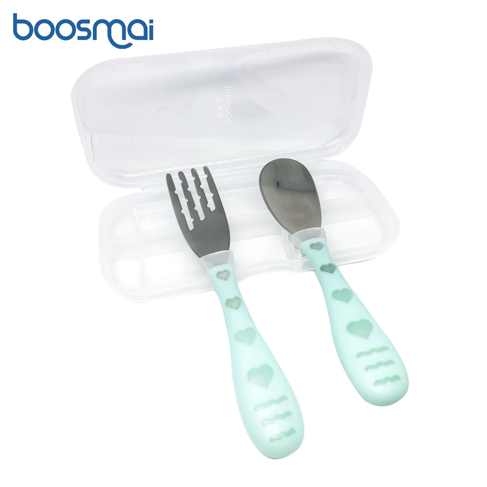 Baby Gadgets Tableware Set Children Utensil Stainless Steel Toddler Dinnerware Cutlery Cartoon Infant Food Feeding Spoon Fork